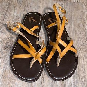 Report sling back leather sandals